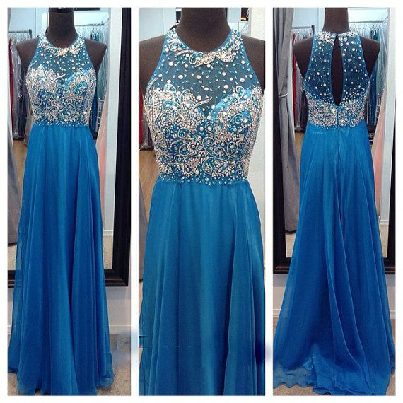 Crystal Prom Dresses, Cheap Blue Evening Dress, Chiffon Evening Gowns Party Dresses, Floor Length Formal Dress