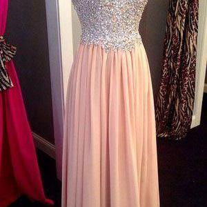 Custom Made Pink Chiffon Prom Dress,Long Prom Dress,Cheap Prom Dress,A Line Sweetheart Prom Dresses,Blush Beadings Evening Prom Gowns,Custom Made Graduation Dress