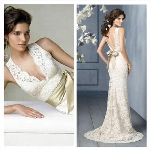 Ivory wedding dress sexy deep V-neck open back lace wedding dress custom US size 2-4-6-8-10-12-14 ++