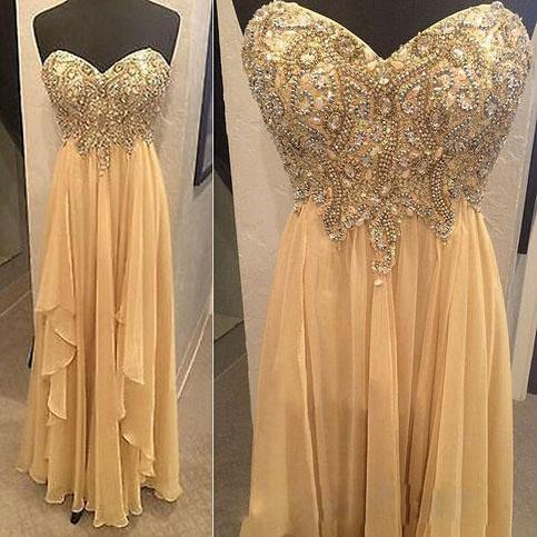 Long prom dress, champagne prom dress, sweet heart prom dress, modest prom dress, pleating prom dress, elegant prom dress, custom prom dress, evening dress