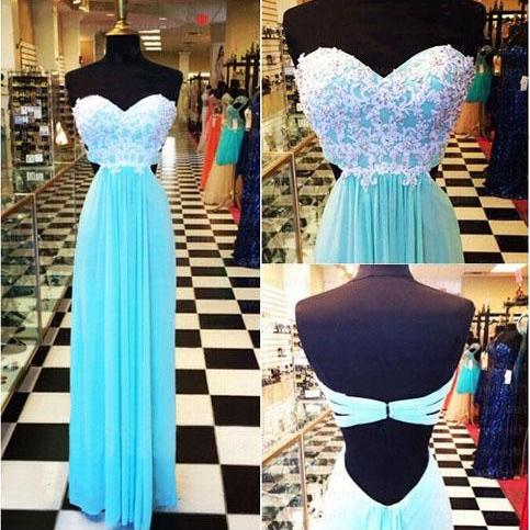 Long prom dress, blue prom dress, sweet heart prom dress, lace prom dress, open back prom dress, modest prom dress, custom prom dress, popular prom dress