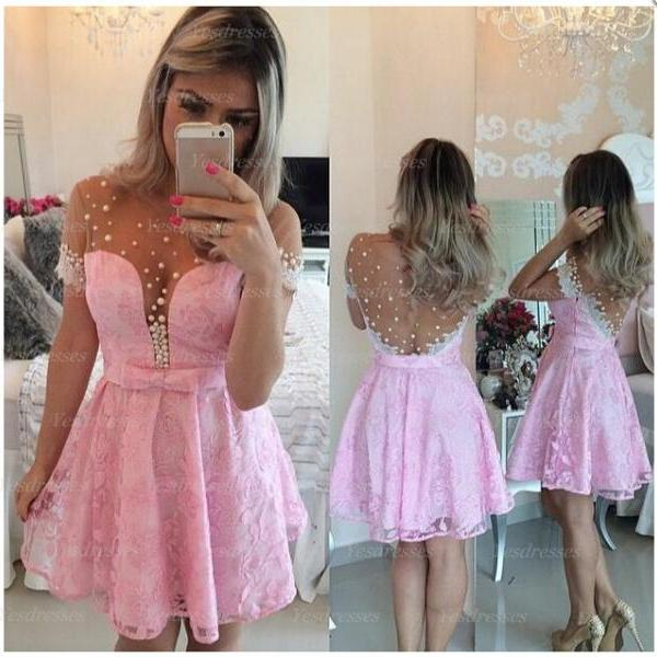 short prom dress, cap sleeve prom dress, lovely prom dress, junior prom dress, pink prom dress, lace prom dress, homecoming dress