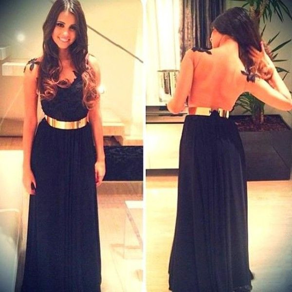 Lace Prom Dresses, Backless Prom Dresses, Backless Black Prom Dresses, A Line Black Prom Dresses, Black Backless Evening Dresses