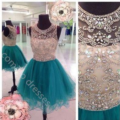 Short Tulle Crystals Prom Dresses Beading Above Knee Mini party Dress, Homecoming Dress