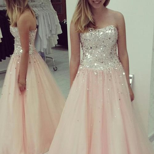 Charming Crystals Tulle Prom Dresses, A-line Party Dresses