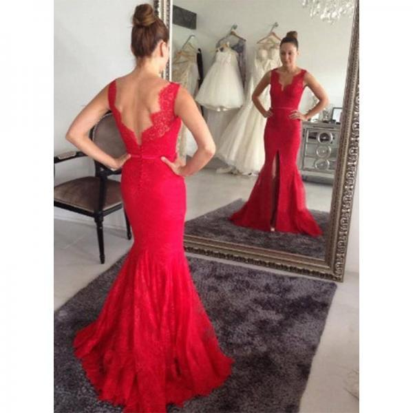 Red Prom Dresses,Mermaid Prom Dress,Red Prom Gown,Lace Prom Gowns,Elegant Evening Dress,Modest Evening Gowns,Simple Party Gowns,2016 Lace Prom Dress