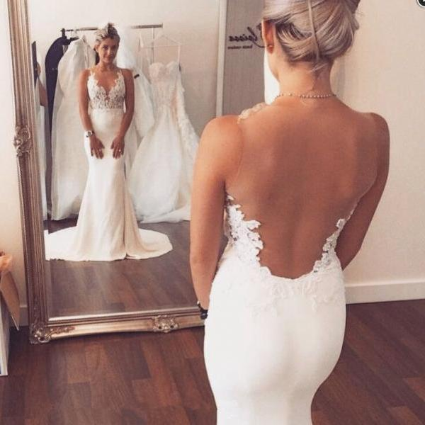Plunging Lace Appliqués Mermaid Wedding Dress Featuring Sheer Back