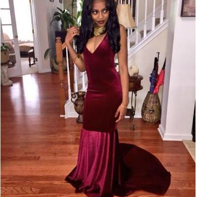 Charming Evening Formal Dress,Backless Mermaid Prom Dress,Sexy V Neck Evening Gown,Open Back Long Prom Dresses
