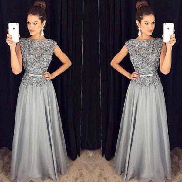 Lace Vintage Long Evening Dress Party Dresses ,O neck Prom Gown,Prom Dresses