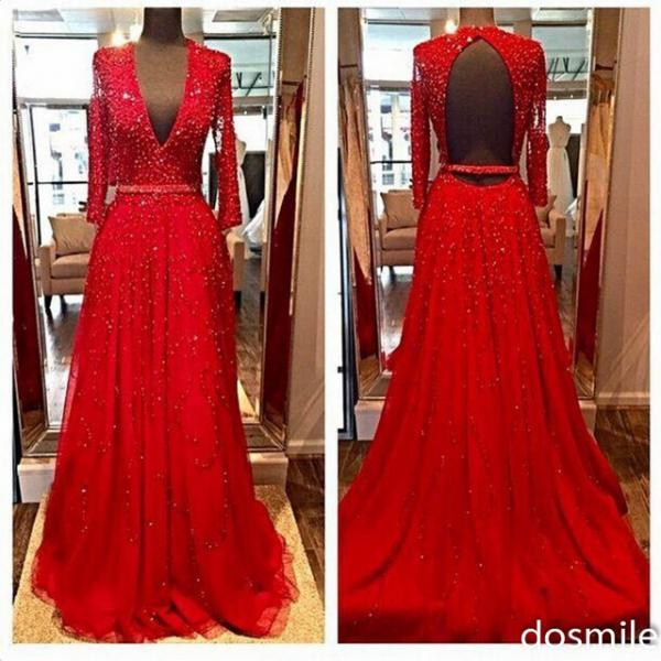 New Design Elegant Red Long Sleeves Evening Dresses 2016 Beads Sequins V-Neck Open Backless Crystal Party Prom Gowns