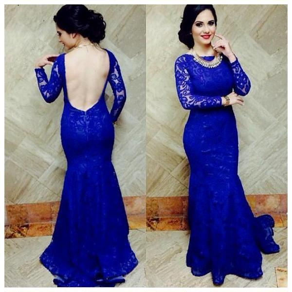 Long Sleeve Prom Dress,Lace Prom Dresses,Evening Dress