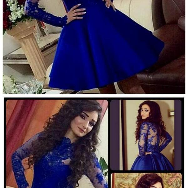 Long Sleeve Prom Dress,Short Blue Prom Dresses,Evening Dress