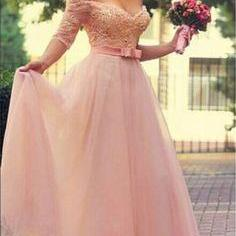 Custom Made Off-Shoulder Chiffon Prom Dresses, Wedding Dresses Dresses - Pink with Ribbon