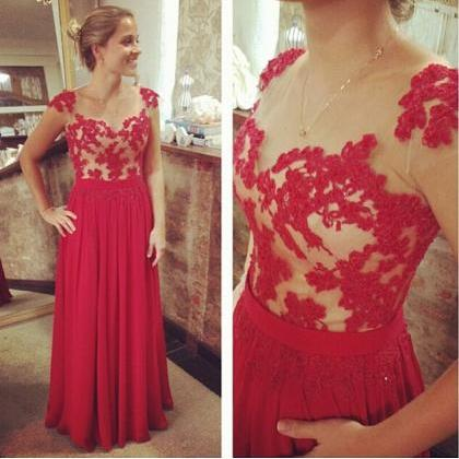 Sleevelesss Prom Dress,Red Applique Prom Dresses,Evening Dress