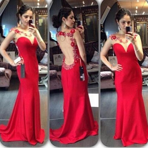 Bakcless Red Prom Dress,Mermaid Prom Dresses,Evening Dress