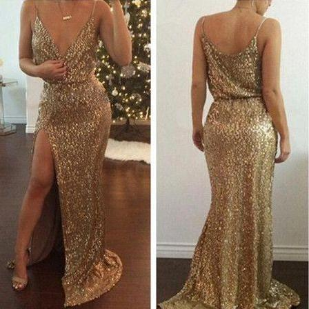 Sequin Prom Dresses,Modest Prom Gown,Cheap Prom Gowns,Sequined Evening Dress,Gold Evening Gowns,Sexy Sequined Party Gowns