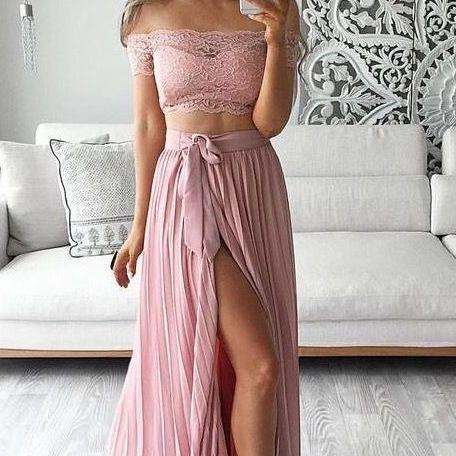 Off The Shoulder Prom Dress,Two Pieces Prom Dress,Split Prom Dress,Fashion Prom Dress,Sexy Party Dress, 2017 New Evening Dress