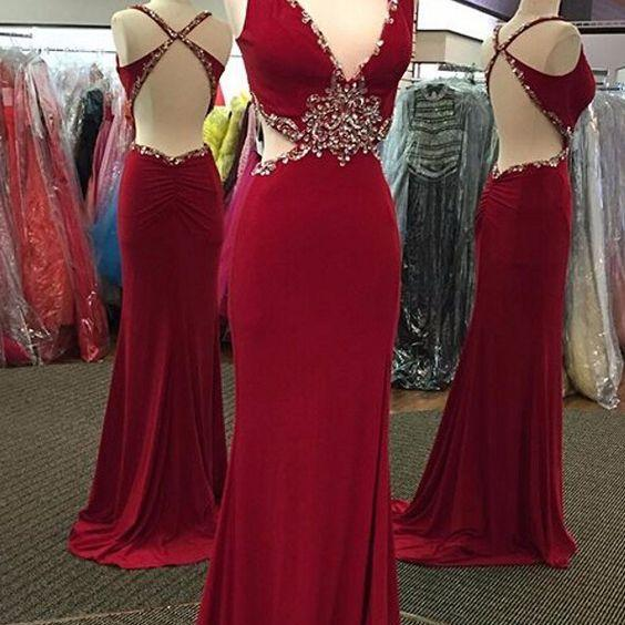Beaded Prom Dress,Backless Prom Dress,Mermaid Prom Dress,Fashion Prom Dress,Sexy Party Dress, 2017 New Evening Dress