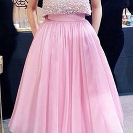 New Arrival Prom Dress,Beautiful two pieces short prom dress,A-line pink homecoming dress,two pieces tulle evening dress,grad dresses,party dresses