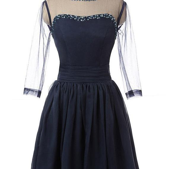 Navy Blue Long-Sleeved Sheer Beaded Chiffon Short Homecoming Dress, Party Dress