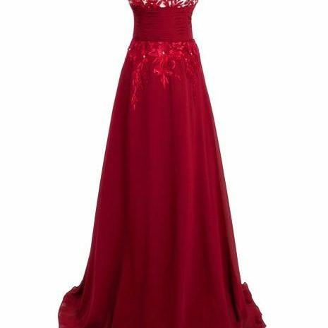 Red Long Evening Dress Prom Gown Sexy Lace Homecoming Gowns