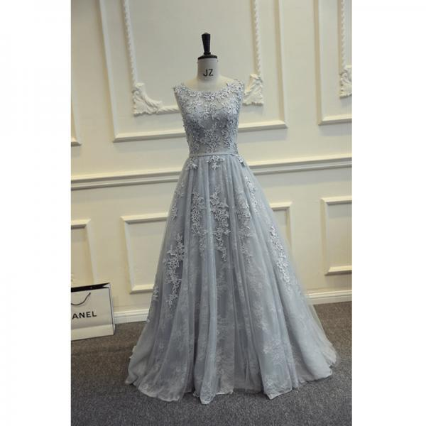 Real Photos Grey Long Prom Dresses 2016 Floor Length Tulle With Lace Vestido De Formatura Longo Party Dresses Elegant A Line