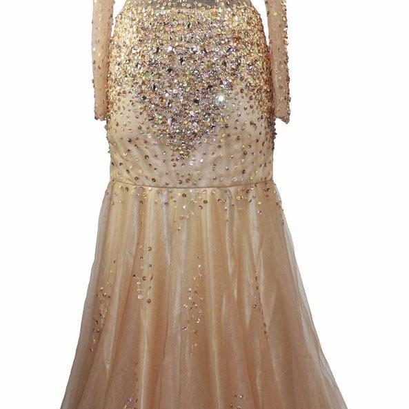 Illusion Women Prom Dresses With Gold Beaded Sequins Stones Long Sleeves Mermaid Formal Party Dress Gowns 2017
