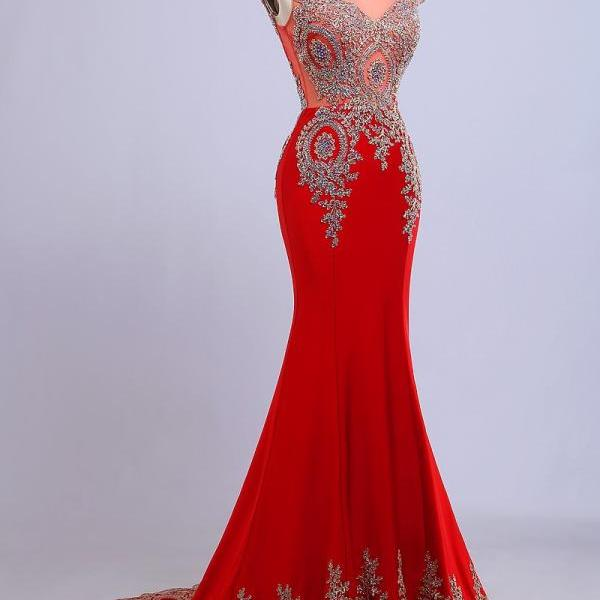 Real Pictures 2017 Scoop Sleeveless Beads Crystal Floor Length Backless Evening Dress vestidos de festa Mermaid Red Prom Dresses