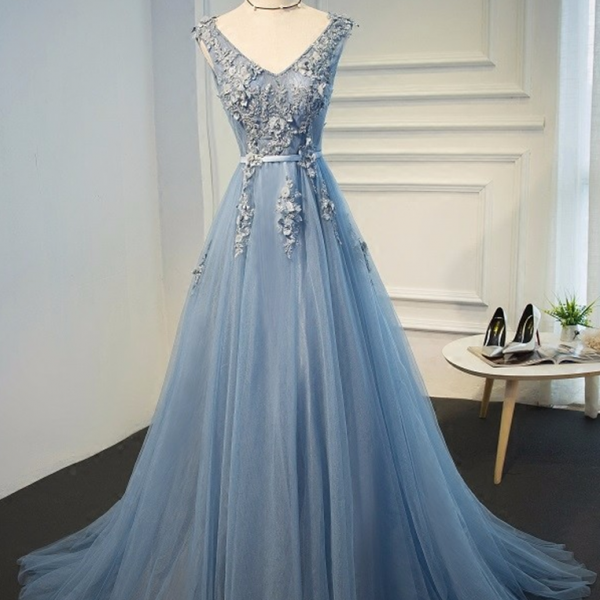 Blue Evening Gowns Dresses 2017 Plus Size Tulle Appliques Long Formal Dresses V Neck Lace Up Sleeveless Robe De Soiree