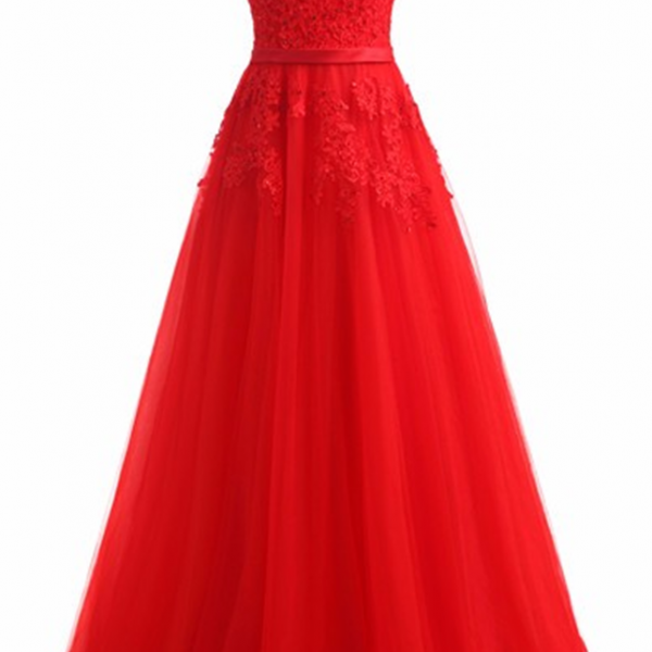 Red Evening Dress 2017 Formal Dresses Tulle Appliques Long Party Dress New Coming Vestido De Festa Longo Imported Party Dress
