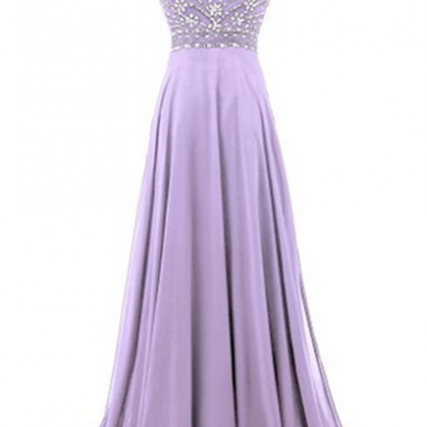 chiffon round neck sequins beaded A-line long prom dresses for teens,evening dress