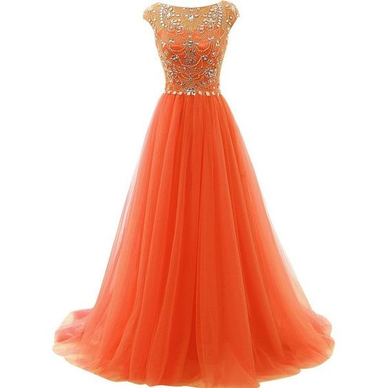 Orange Long A-line Prom Dresses,Beading Prom Gowns With Flower Type,Modest Evening Dresses,Party Dresses