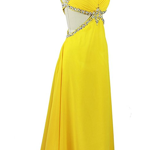 Sexy A Line Backless Formal Gowns Yellow Prom Dress