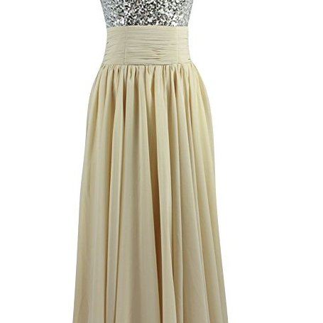 Sleeveless V Neck Sequin Chiffon Champagne Evening Gown Prom Dress
