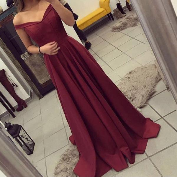 Burgundy Prom Dress,Off The Shoulder Formal Gown ,Party Dress Long, Evening Gown