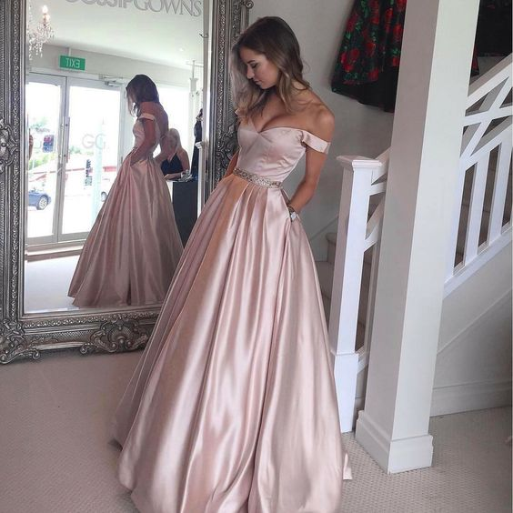 Custom Made Off-Shoulder Prom Dress, A Line Satin Formal Gown With Pockets - Pink